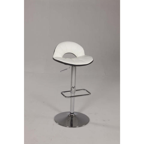 Chintaly 0628 Pneumatic Gas Lift Swivel Height Stool In White And Black