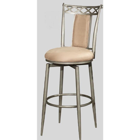 Chintaly 0724 Memory Return Swivel Stool In Taupe Suede