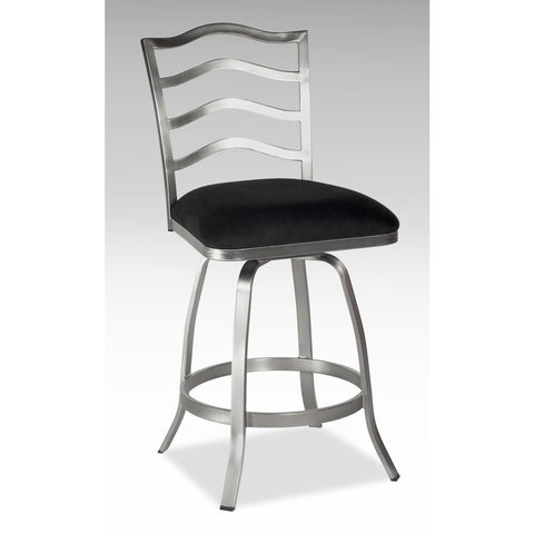 Chintaly 0734 Memory Return Swivel Stool In Black fabric