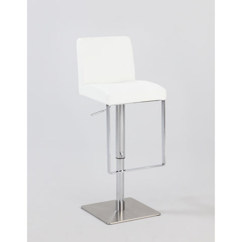 Chintaly 0813 Pneumatic Gas Lift Adjustable Height Swivel Stool In White