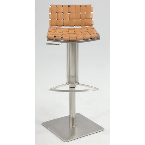 Chintaly 0882 Basket Weave Seat & Back Pneumatic Gas Lift Adjustable Swivel Stool In Camel Reg. Leather