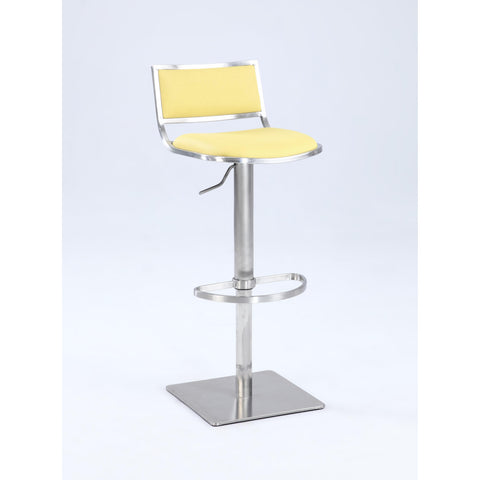 Chintaly 0895 Open Back Contemporary Pneumatic Stool In Yellow