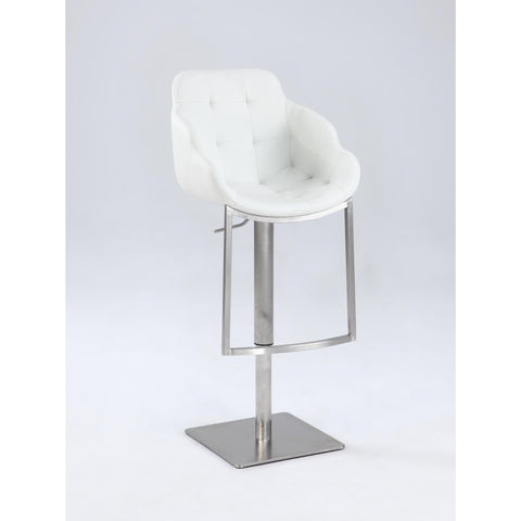 Chintaly 0899 Tufted Contemporary Pneumatic Stool In White