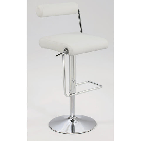 Chintaly 0979 Roll Back Pneumatic Gas Lift Adjustable Height Swivel Stool In White