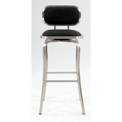Chintaly 1192 Modern Swivel Bar Stool In Black