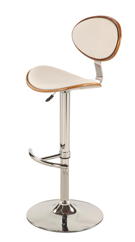 Chintaly 1309 Plywood Back And Seat Pneumatic Stool In White