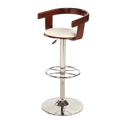 Chintaly 1331 Bentwood Pneumatic Swivel Stool In White