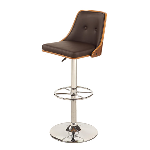 Chintaly 1353 Upholstered Back Pneumatic Stool In Brown
