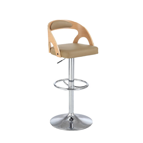 Chintaly 1482 Round Open Back Pneumatic Stool In Beige