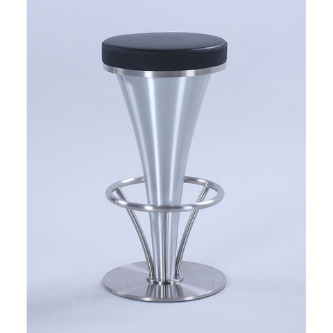 Chintaly 1671 V-Pedestal Barstool in Black & Brushed Stainless Steel