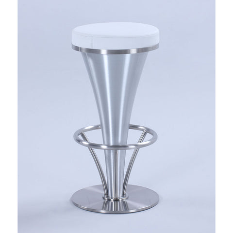 Chintaly 1671 V-Pedestal Barstool in White & Brushed Stainless Steel