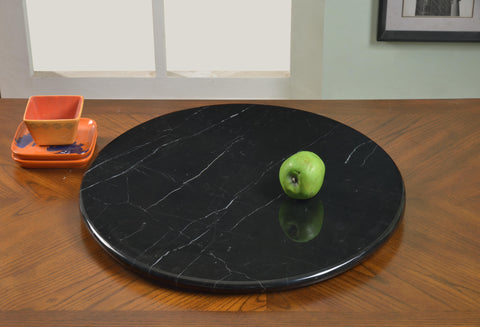 "Chintaly 24"" Round Blamarble Rotating Tray In Black Marble And Aluminum"