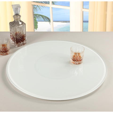 "Chintaly 24"" Round Glass Rotating Tray In Glass And White"