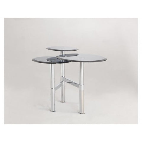 Chintaly 4033 Lamp Table In Gray Tinted Glass