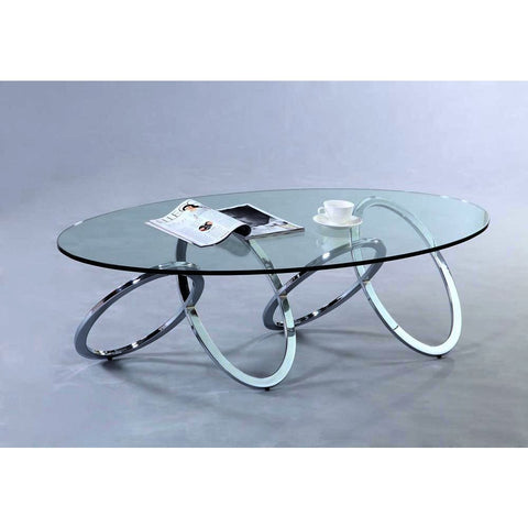 Chintaly 4036 Glass Top Cocktail Table in Clear