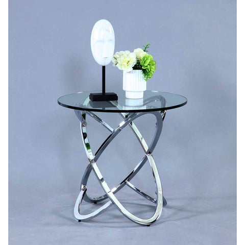 Chintaly 4036 Glass Top Lamp Table in Clear