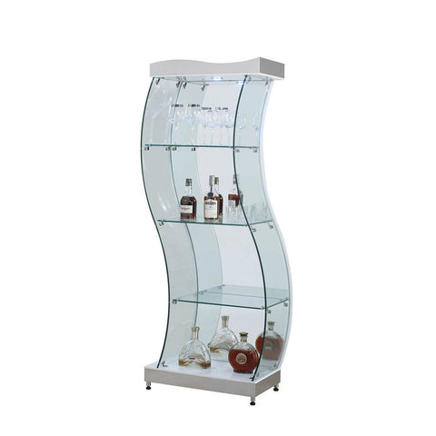 Chintaly 6618 S-Shaped Glass Curio in Clear & White