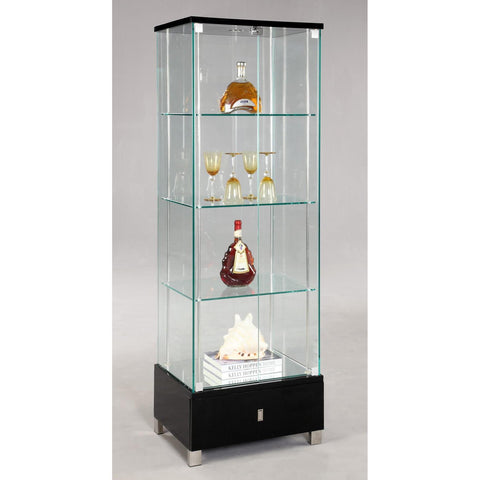 Chintaly 6628 Glass Curio in Stainless Steel