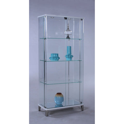 Chintaly 6639 Rectangular Glass Curio w/Bent Glass Back in Gloss White & Starphire