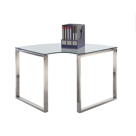 Chintaly 6931 Desk Corner Table In Clear Glass