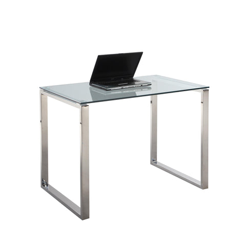 Chintaly 6931 Small Desk Table In Clear Glass