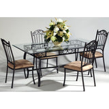 Chintaly 710 5 Piece Rectangle Dining Table Dining Set In Glass And Chrome