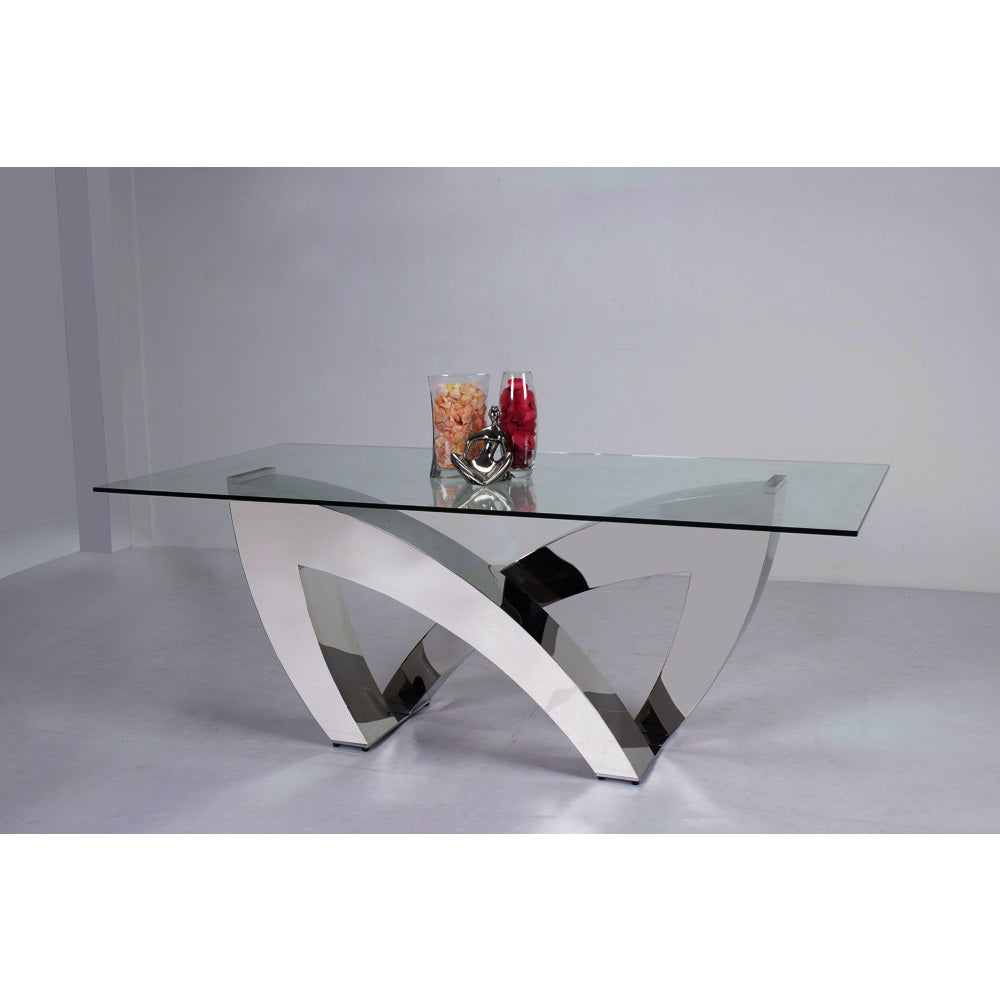 1a4e6c3b2b5 Chintaly Alexis Rectangular Glass Dining Table in Clear Glass ...