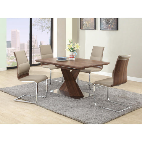 Chintaly Bethany 5 Piece Dining Set (Dining Table + 4 Side Chairs) In Walnut