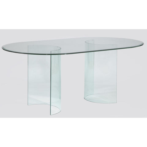 Chintaly C-Base Oval Dining Table In Clear Glass