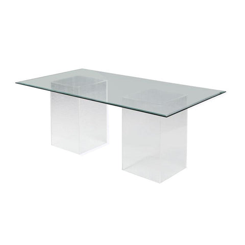 "Chintaly Contemporary 72"" Rectangular Glass Dining Table"