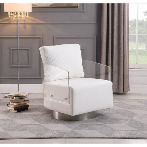 Chintaly Contemporary Acrylic Back Swiveling Accent Chair