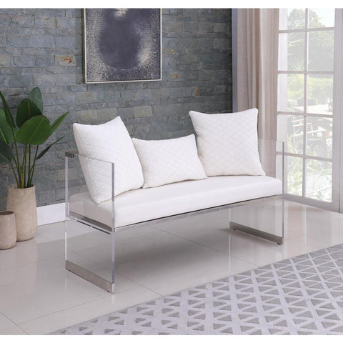 Chintaly Contemporary Acrylic Bench w/ Upholstered Seat
