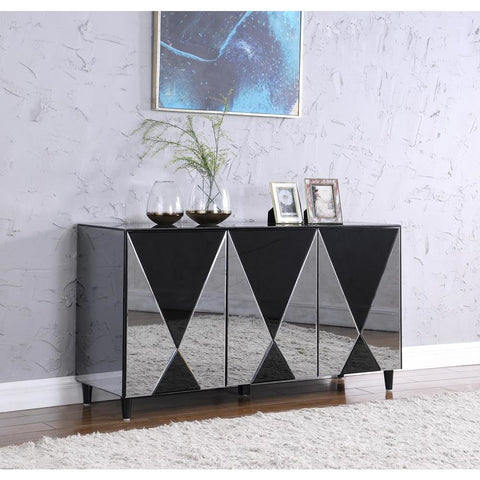 Chintaly Contemporary Black & Clear Mirror-Front Buffet