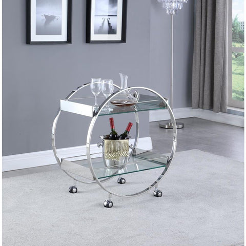 Chintaly Contemporary Circular Tea Cart w/ Glass Shelves