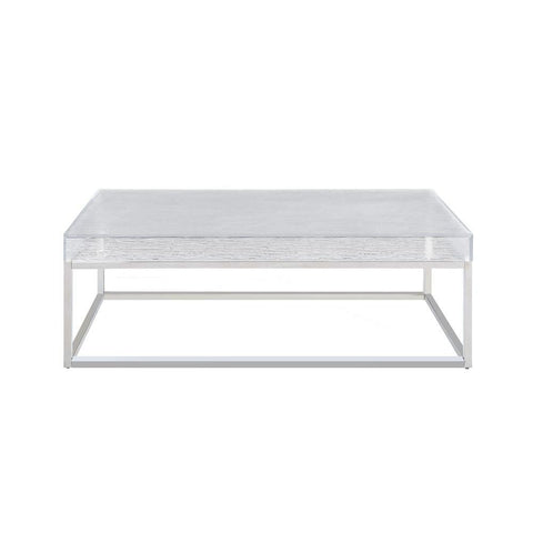 Chintaly Contemporary Cocktail Table w/ Acrylic Top & Steel Frame