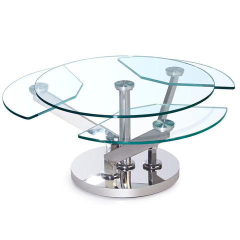 Chintaly Contemporary Cocktail Table w/ Glass Top & Motion Shelves