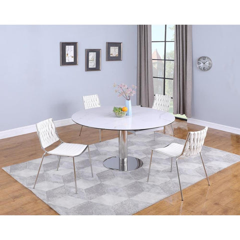 Chintaly Contemporary Dining Set w/ Extendable Ceramic Table & 4 Chairs