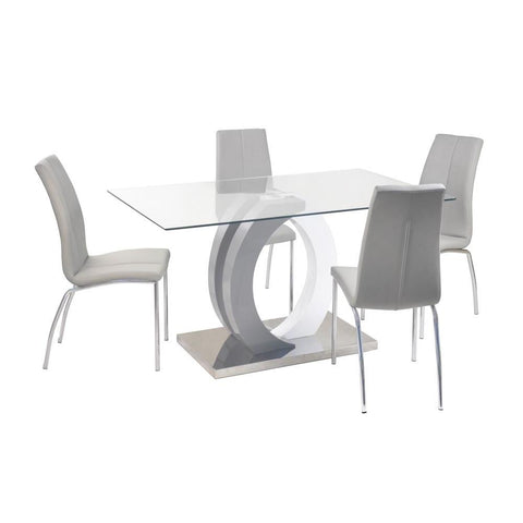 Chintaly Contemporary Dining Set w/ Glass Table, Wood & Steel Pedestal and 4 Chairs