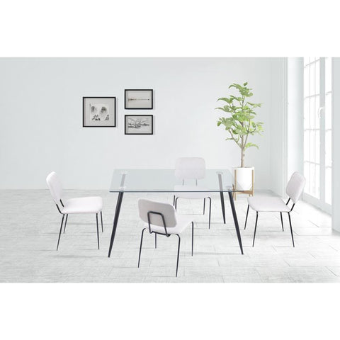 Chintaly Contemporary Dining Set w/ Rectangular Glass Table & 4 Chairs