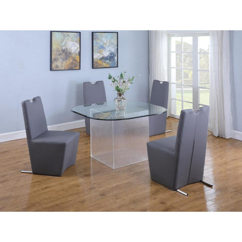 Chintaly Contemporary Dining Table w/ Surfboard Glass Top