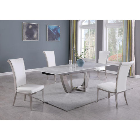 Chintaly Contemporary Extendable Carrara Marble Table