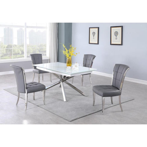 Chintaly Contemporary Extendable Starphire Glass Table w/ Criss-Cross Base