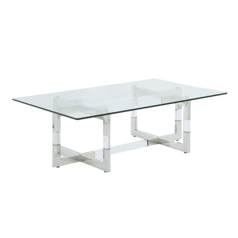 Chintaly Contemporary Glass Cocktail Table w/ Floating Acrylic Base & Steel Accents