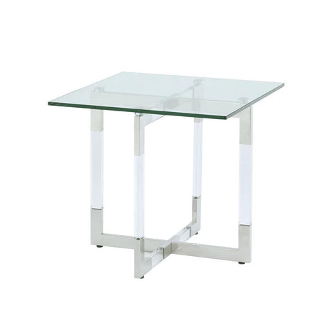 Chintaly Contemporary Glass Lamp Table w/Acrylic & Stainless Steel Base