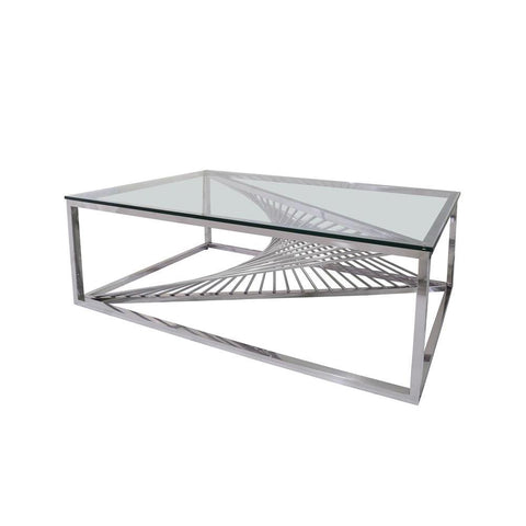 Chintaly Contemporary Glass Top Cocktail Table