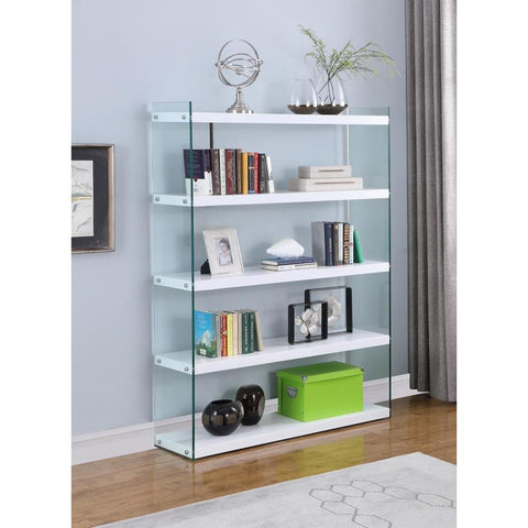 Chintaly Contemporary Gloss White & Glass Book Case