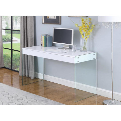 Chintaly Contemporary Gloss White & Glass Desk