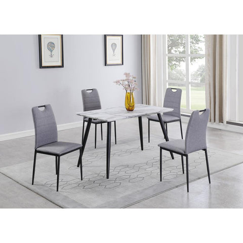 Chintaly Contemporary Gray Marbleized Laminate Dining Table