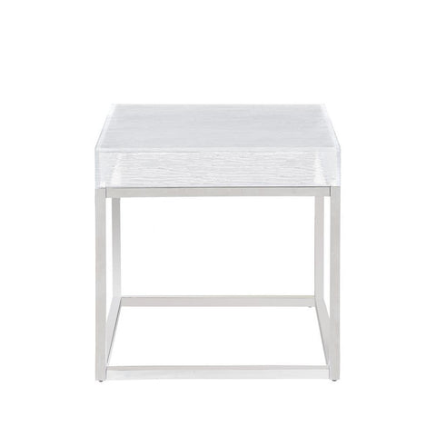 Chintaly Contemporary Lamp Table w/ Acrylic Top & Stainless Steel Frame