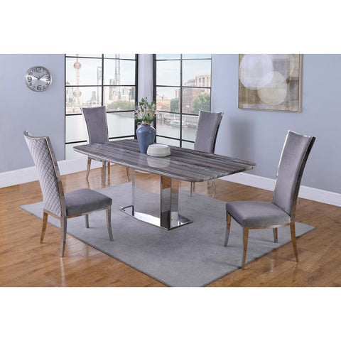 Chintaly Contemporary Marble Dining Table w/Stainless Steel Base